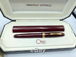 Omas Amerigo Vespucci Fountain Pen Briarwood 18k Flex Broad Nib Presque Neuf Box