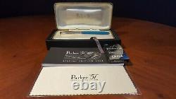 Parker 51 Special Edition 2002 Vista Blue Fine Pt. Fountain Pen Nouveau Avec Box