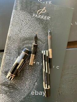 Parker Duofold Mosaic Black Pt Centennial Fountain Stylo Inutilisé Et Encadré M