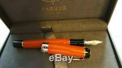 Parker Duofold Pen Centennial Fountain Big Palladium Red F Nouveau Dans Orange Box