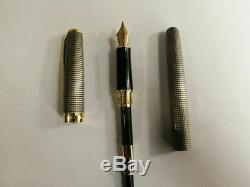 Parker Sonnet Ciselé Argent Grille D'or Fin Clip 0.5mm Fountain Pen Neuf Dans La Boîte
