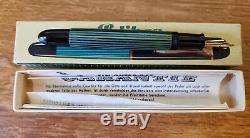 Pelikan 140 Fountain Pen Rayé Vert Oblique Om 14k Nib Et Boîte / Documents Originaux