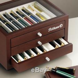 Pelikan 24 Pen Afficher Collectionneurs Boîte En Bois Et En Verre 806695