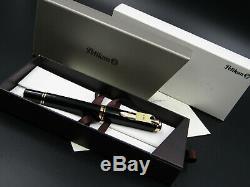 Pelikan Fontaine Pen Souveran M800 Logo Anciens Black & Gold Nib M 18c New Box