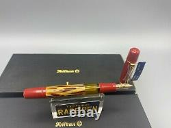 Pelikan Gs M101n Fountain Pen Écaille De Tortue Rouge 14k Fine Nib Nouveau Boxed