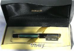 Pelikan Souveran M600m Fountain Pen Green & Black Medium Nib Nouveau Produit In Box