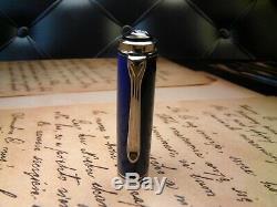 Pelikan Souverän M605 Fountain Pen-solid Blue-14k B Nib-box & Papiers-2000