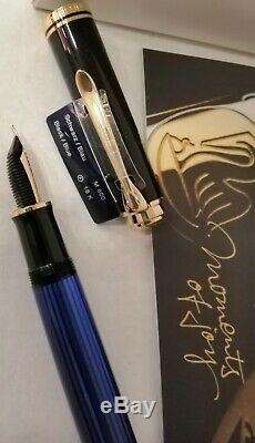 Pelikan Souveran M800 Fountain Pen Noir / Bleu F # 986729 Neuf Dans La Boîte