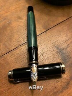 Pelikan Souverän M800 Green Stripe Fountain Pen Nib Moyen Aucune Boîte N'encré