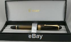 Pilot 823 Personnalisée Transparent Ambre Et Or Plongeur Fountain Pen In Box 14kt Nib