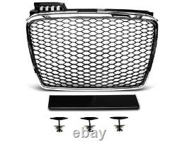Pour Audi A4 B7 04-08 Rs4 Look Honeycomb Grill+led Headlights Diffuseur Bumper