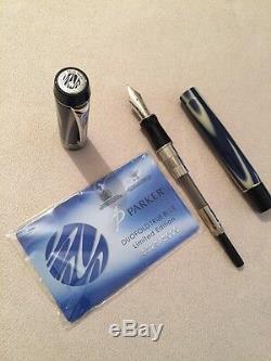 Rare Parker Duofold Centennial True Blue Fountain Pen-paperasse-caissonné Nos