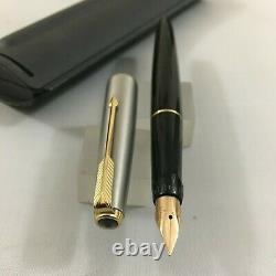 Rare Parker Vp Brush Steel Gt Black Fp Nib 14k No. 65+convertisseur Box USA Nouveau