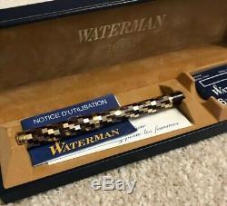 Rare Waterman Dame Patricia Noir / Or Facettes Plume-18k Nib-coffret