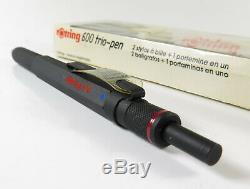 Rotring Trio Pen 600 Noir Old Style, Fabriqué En Allemagne, Nouveau Vieux Stock Avec La Boîte