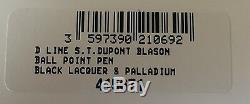 S. T. Dupont D Ligne Blasons Stylo À Bille, Palladium, 415671, Neuf Dans La Boîte