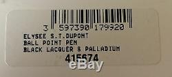 S. T. Dupont Elysée Stylo À Bille, Laque Noire Et Palladium, 415674, Neuf Dans La Boîte
