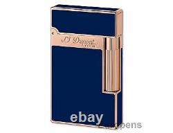 S. T. Dupont Lighter Ligne 2 Blue Chinese Lacquer & Rose Gold (016496) Cadeau En Boîte