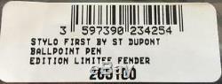S. T. Dupont Stylo À Bille Guitare Fender Avec Support 265100, Neuf Dans La Boîte
