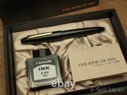 Sailor King Of Pen (kop) Bk Ebonite Moyenne Plume 21k & Boîte En Bois 11-7002-420