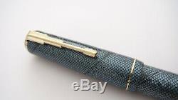 Sécurité Nationale Fountain Pen Dans, Bleu Snakeskin, Semi 14k Flex Stub M Nib