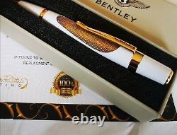 Stylo À Bille Bentley Plaqué Or 24ct Blanc Cadeau Boxed Encre Gratuite 24k