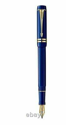 Stylo De Fontaine Parker Duofold Lapis Lazuli 18k Gold Medium Pt Int New In Box
