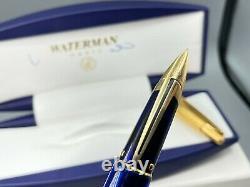 Stylo De Fontaine Waterman Edson Sapphire Blue 18k Fine Nib Nos New Complete Encadré
