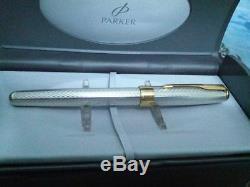 Stylo Plume Parker En Argent Sterling Fougere Fountain Pen 18kt Fine Pt In Box