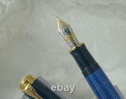 Stylo Plume Pelikan M800, Bleu/noir, Gt, 18k F Nib, Nouveau, No Box