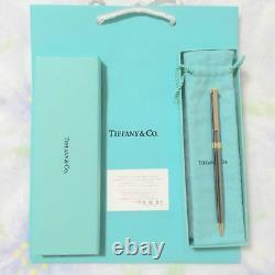 Tiffany & Co. Ballpoint Pen T Clip Silver × Gold Avec Box New