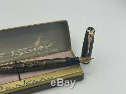 Vintage 1945 Nos Parker Vacumatic Major Fountain Pen Golden Pearl Nouveau Boxed