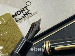 Vintage Montblanc 149 Stylo Plume 14k Fine Nib Boxed Brass Threads + Boîtier + Boîte
