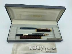 Vintage Parker 75 Thuya Laque Fontaine Nib Pen 18k Med En Boîte