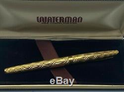 Vintage Waterman C / F 18k Or Massif Fontaine Nib Pen 18k Med Boxed