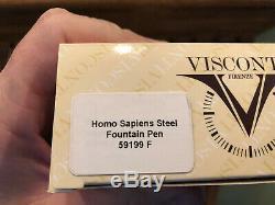 Visconti Fountain Pen Homo Sapiens En Acier Et Résine Lava 23k Palladium F Nib Avec Boîte
