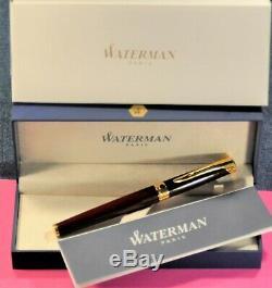 Waterman L'etalon Bourgogne Laque & Gt Nib 18k Ef Stylo Plume Withorig. Boîte