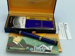 Waterman Man 100 Patrician Fountain Pen Bleu Lapis 18k Fine Nib Mint Coffret
